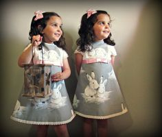 Rabbits. Baby toddler or girl classic dress. by Moniquesthingsshop