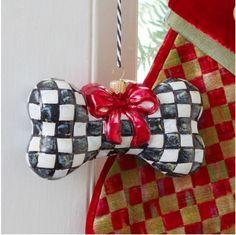 "NIB MacKenzie-Childs ""COURTLY CHECK DOG BONE"" Glass Ornament: Poland RETAIL $68"