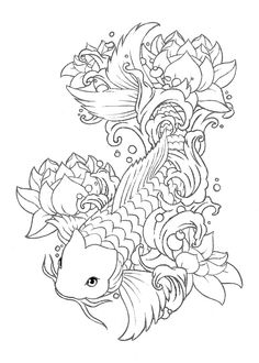 "Koi fish are the domesticated variety of common carp. Actually, the word ""koi"" comes from the Japanese word that means ""carp"". Outdoor koi ponds are relaxing. Koi Fish Drawing, Koi Fish Tattoo, Fish Drawings, Tattoo Design Drawings, Fish Tattoos, Art Drawings, Tattoo Designs, Tattoo Ideas, Tattoo Sketch Art"