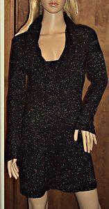 Cowl Neck Knit Sweater Black Mini Dress Small Metallic White House Black Market