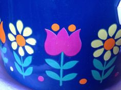 60s swedish Vintage enamel retro pot with lid. Scandi pattern blue with  flowers