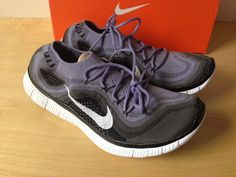 Nike FREE Flyknit+ 5.0 Running Shoes Mens 10.5 615805 510 Black Iron Purple #Nike #AthleticSneakers