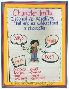 Teaching Character Traits - Teaching With Simplicity : Last week I introduced character traits to my students. We are reading Freckle Juice by Judy Blume. Determining character traits to describe Andrew, is pretty easy. My students are really gettin. Ela Anchor Charts, Kindergarten Anchor Charts, Reading Anchor Charts, Character Anchor Charts, Kindergarten Behavior, Reading Lessons, Reading Strategies, Teaching Reading, Guided Reading