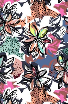 Bright bold flowers pattern by susanna nousiainen product with this pattern at my @contrado shop