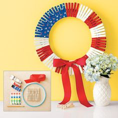DIY Patriotic Clothespin Wreath   AllYou.com- just made my own and it's adorable. I used spray paint rather than hand painting each pin. Super easy.