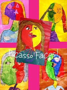 Picasso art lesson (1st & 2nd Grade) or using construction paper to cut out features on face.