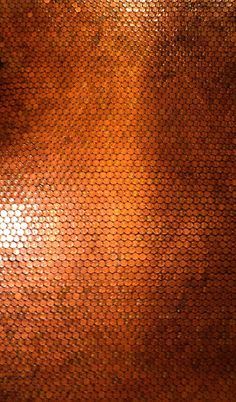 ::: Penny floor - an area that has been grouted & sealed with the polyurethane by Amanda Edwards (mandolinmosaics) Copper Penny, Copper Color, Copper Wall, Textures Murales, Sealing Grout, Bronze, Textures Patterns, Pantone, Feng Shui
