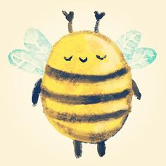 Discover recipes, home ideas, style inspiration and other ideas to try. Art And Illustration, Cute Animal Illustration, Animal Illustrations, Illustrations Posters, Bee Drawing, Bee Painting, Cute Bee, Bee Art, Cute Characters