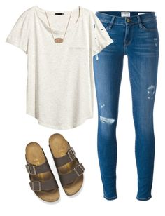 """Cute and casual look"" by amkallas ❤ liked on Polyvore featuring Birkenstock, Frame Denim, H&M and Kendra Scott"