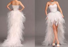 2014 New Feather Front Short Long Back white/ivory wedding dress custom size4-18