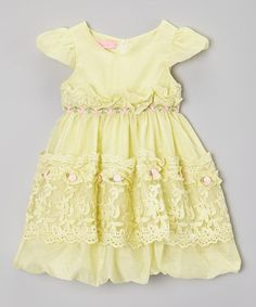 Look what I found on #zulily! Green Rosette Lace Dress -  Girls #zulilyfinds