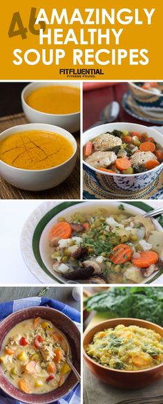46 Amazingly Healthy Soup Recipes. This time of year, soup makes a perfect meal! Lots of crockpot recipes to try for dinner in this post, soups with chicken and meatless options, too!