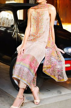 Buy Beige Embroidered Cotton Lawn Dress by Khaadi Lawn Collection 2015.