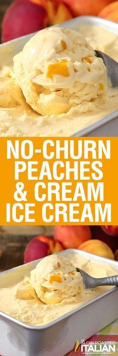 Peaches & Cream Ice Cream is rich, thick and amazingly delicious. And it does NOT use sweetened condensed milk.No-Churn Peaches & Cream Ice Cream is rich, thick and amazingly delicious. And it does NOT use sweetened condensed milk. Ice Cream Treats, Ice Cream Desserts, Köstliche Desserts, Frozen Desserts, Ice Cream Recipes, Frozen Treats, Peach Ice Cream Recipe, Fruit Ice Cream, Sweet Desserts