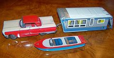 RARE Matching Vintage Tin Car camper Boat Modern Toys MT Masudaya Japan 1950'S | eBay
