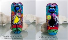 Soulmate Cat and Bird   Art Glass bead by Michou by michoudesign, $119.00