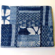 Sally Campbell, Handmade Textiles - Queen Indigo Shibori Patchwork Quilt