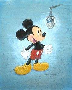 """Talks Like a Mouse"" by Bret Iwan (voice of Mickey) - Limited Edition of 500 on Canvas, 10x8"
