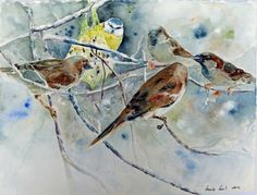 Unsere verkauften Bilder 2012 | Lagebesprechung (c) Aquarell von Hanka Koebsch #Aquarell #watercolor #Vögel #Birds