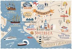 Portsmouth map for Coast Magazine by Anna Simmons. With Patrick O'Brian in The Ionian Mission