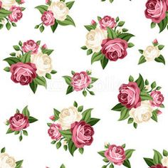 Seamless vintage pattern with pink and white roses. Vector