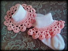 Your place to buy and sell all things handmade Crochet Ruffle, Crochet Socks, Baby Girl Crochet, Crochet Baby Booties, Crochet Trim, Crochet Gifts, Crochet For Kids, Knit Crochet, Baby Socks