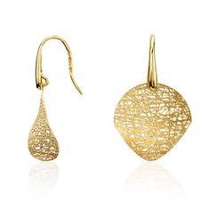 Woven Disc Drop Earrings in 14k Yellow Gold