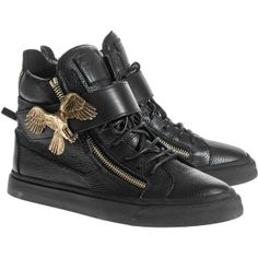 GIUSEPPE ZANOTTI London TR Uomo Lindos Vague Nero Leather sneakers with buckle ($1,080) found on Polyvore