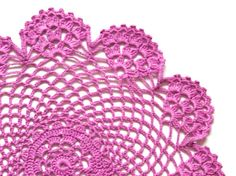 Cerise Pink hand dyed Crochet Vintage Doily