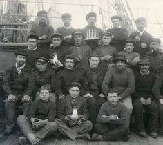 Crew on the deck of the sailing vessel BAYONNE, Washington, ca. 1904. :: Wilhelm Hester Photographs