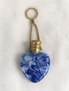 ANTIQUE PORCELAIN HEART SHAPE CHATELAINE PERFUME SCENT BOTTLE C1880