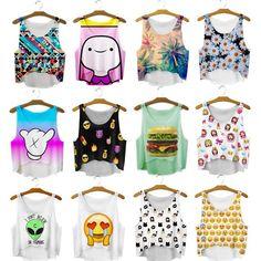 Aliexpress.com: Comprar Summer Casual mujeres de cultivos Emoji Tank Tops chaleco blusa sin mangas playa de la historieta tanques T Shirt de motor del tanque fiable proveedores en Trustworthy Online Mall