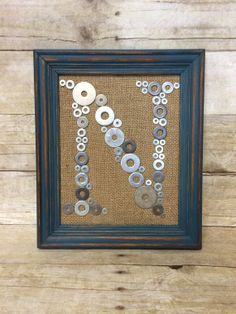 Metal Washers & Burlap Initial Letter Monogram by BellaGreyVintage, $52.00