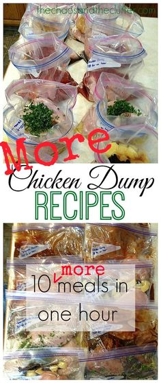 More Chicken Dump Recipes - 10 more meals in an hour! This is amazing how many meals this mom preps at a time for her freezer. I need to do this!