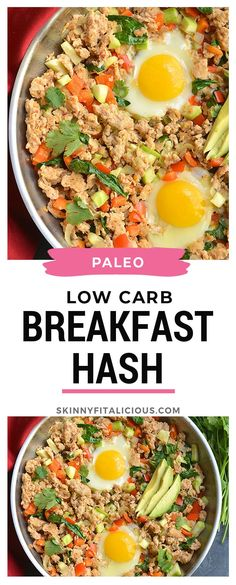 High Protein Breakfast Hash loaded with veggies is perfect for a make ahead meal prep! Low Calorie Breakfast, Healthy Low Calorie Meals, Healthy Meal Prep, Low Calorie Recipes, Protein Breakfast, Raw Food Recipes, Healthy Recipes, Keto Recipes, High Protein Meal Prep