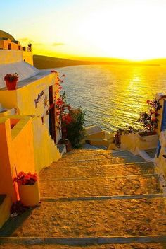Steps to the Sea, Santorini, Greece.I want to go to Santorini. Places Around The World, The Places Youll Go, Places To See, Around The Worlds, Vacation Destinations, Dream Vacations, Vacation Spots, Beautiful World, Beautiful Places