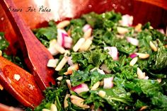 This Kale Salad Recipe is perfect with any entree. It is a light and tasty side dish. Paleo Kale Salad, Kale Salad Recipes, Salad Dressing Recipes, Veggie Recipes, Healthy Recipes, Paleo Ideas, Sprouts Salad, Brussel Sprout Salad, How To Eat Paleo