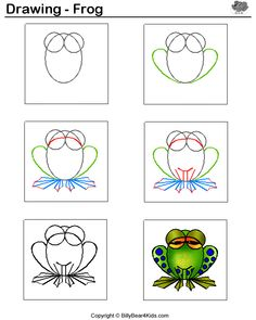 drawing a frog.This is an easy frog to paint on a rock! Drawing Lessons, Drawing Techniques, Art Lessons, Drawing For Kids, Art For Kids, Frog Drawing, Documents D'art, Animal Drawings, Art Drawings