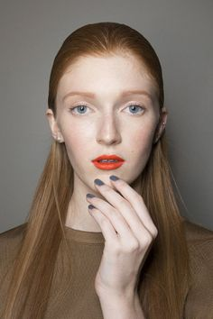 Orange Lips + Gray Nails