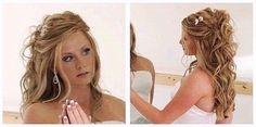 70 Trendy Wedding Hairstyles With Tiara And Veil Half Up Curls Wedding Hair Half, Wedding Hairstyles Half Up Half Down, Wedding Hair And Makeup, Hair Makeup, Wedding Dress, Half Updo, Ivory Wedding, Purple Wedding, Wedding Bells