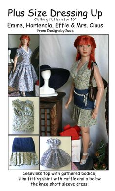 """Dress Doll Clothes Sewing Pattern for 16/"""" Kish Fletcher Pattern Company"""