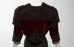 Spanish Bolero Jacket | Cristóbal Balenciaga: Evening bolero jacket [back] of burgundy silk ...