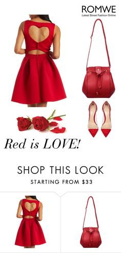 """""""Romwe Red Satchel Bag"""" by ella178 ❤ liked on Polyvore featuring Charlotte Russe, Gianvito Rossi, women's clothing, women's fashion, women, female, woman, misses and juniors"""