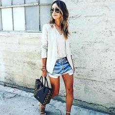 Street Wear Jacket With Denim Shorts