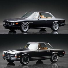 We take a look at two of the most classic coupes from BMW and Mercedes-Benz, the BMW CS Coupe and Mercedes Pagoda. Auto Retro, Retro Cars, Vintage Cars, Bmw Classic Cars, Classic Mercedes, Porche 911, Bmw E9, Fiat 126, Automobile