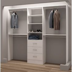 Organize shoes, clothes, and accessories and make the most of your closet space with this reach-in closet organizer. This reach-in closet organizer has six shelves, three drawers, and four closet rods Closet Design, Closet Storage, Closet Designs, Closet Organizers, Master Bedroom Organization, Closet Makeover, Organization Bedroom, Remodel Bedroom, Closet Remodel