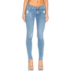 rag & bone/JEAN Skinny Denim ($225) ❤ liked on Polyvore featuring jeans, blue jeans, destroyed jeans, ripped jeans, faded blue jeans y distressed skinny jeans