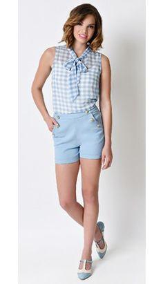 Retro Style Nautical Light Blue High Waist Stretch Sailor Shorts