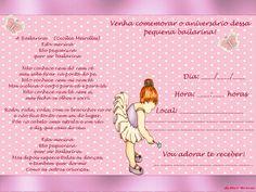 Convite de Bailarina com Bolinhas – Convite Infantil