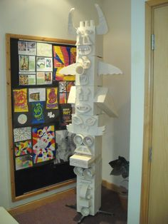 Totem pole made from Craftfoam during a school art lesson - ready for painting #art #craft